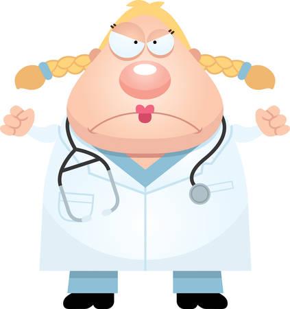 caricatura enfermera: Una ilustración de dibujos animados de un médico que parece enojada.