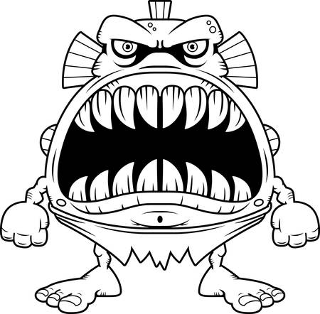 merman: A cartoon illustration of a fish creature with a big mouth full of sharp teeth.