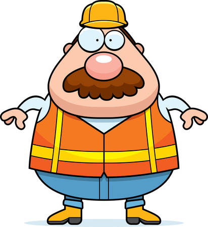 road worker: A cartoon illustration of a road worker with a mustache.