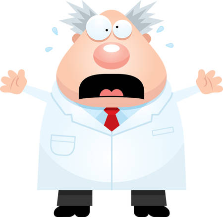 mad scientist: A cartoon illustration of a mad scientist looking scared.