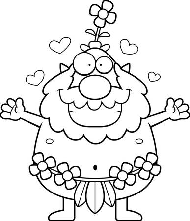 sprite: A cartoon illustration of a forest sprite ready to give a hug. Illustration