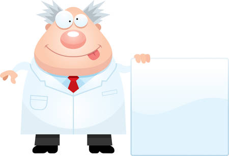 mad scientist: A cartoon illustration of a mad scientist with a sign.