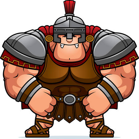 A cartoon illustration of a muscular Roman Centurion in armor looking angry. Illustration