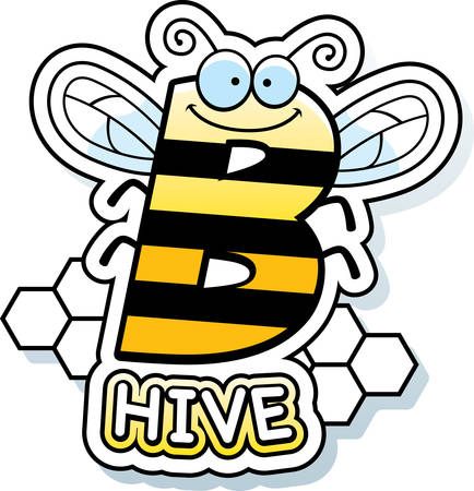 A cartoon illustration of the text B Hive with a bee theme.