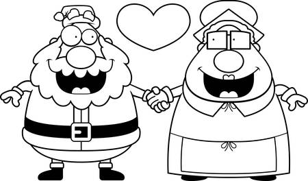 mrs santa claus: A cartoon illustration of Santa Claus and Mrs. Claus holding hands and in love.