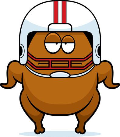 A cartoon illustration of a football turkey looking bored.