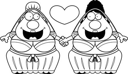 A cartoon illustration of a gay couple holding hands and in love.