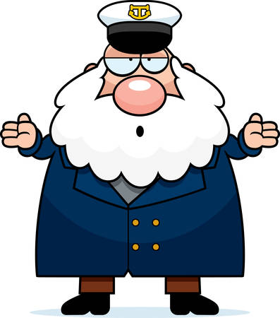 A cartoon illustration of a sea captain looking confused.