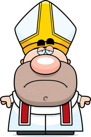 pope: A cartoon illustration of a pope with a sad expression.