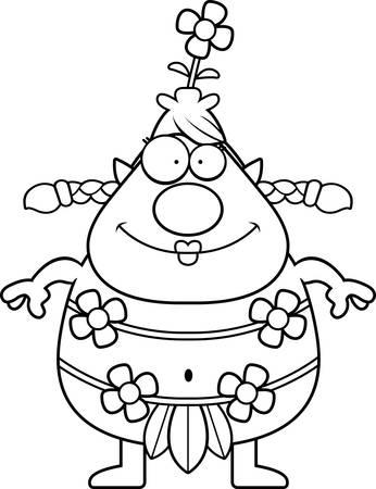 A cartoon illustration of a forest sprite looking happy. Ilustração