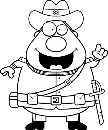 civil war: A cartoon illustration of a Civil War Confederate soldier with an idea. Illustration