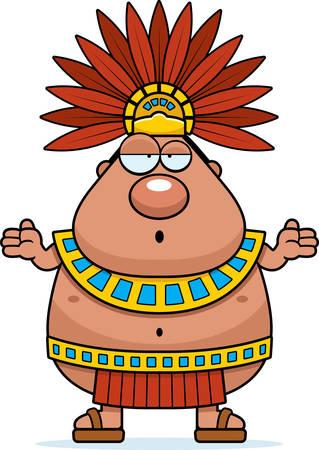 Une illustration de bande dessinée d'un roi aztèque qui semble confus.