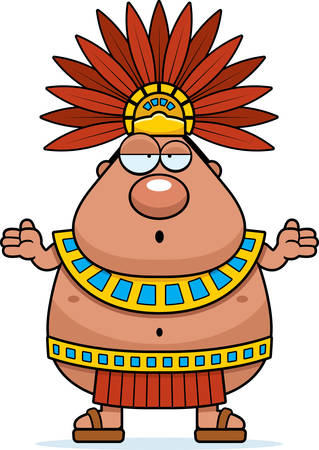 incan: A cartoon illustration of an Aztec King looking confused.