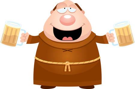 drunk cartoon: A cartoon illustration of a monk drinking beer.