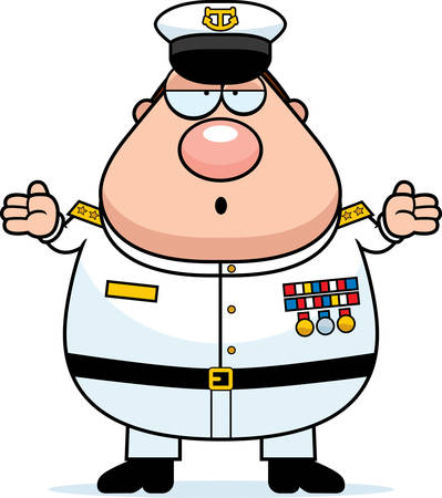 A cartoon illustration of a Navy Admiral looking confused.