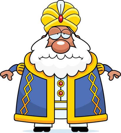 A cartoon illustration of a sultan looking sad.