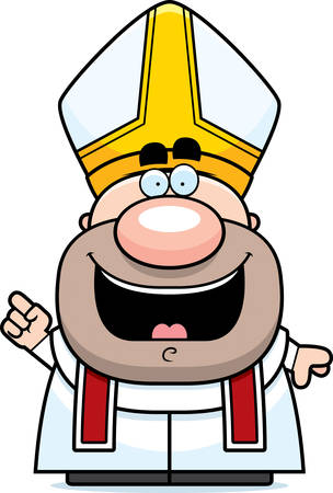 A cartoon illustration of a pope with an idea.