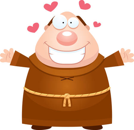 friar: A cartoon illustration of a monk ready to give a hug. Illustration