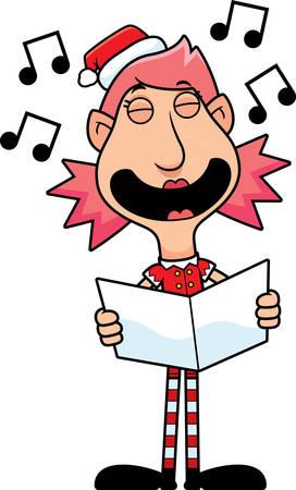 caroling: An illustration of a cartoon Christmas elf woman singing carols. Illustration