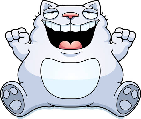 A cartoon illustration of a fat cat smiling and sitting. Illustration