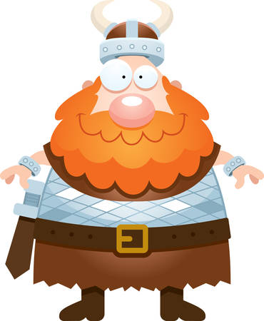 norse: A cartoon illustration of a Viking looking happy. Illustration
