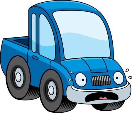 pickup truck: Una ilustraci�n de dibujos animados de una camioneta que parece asustada. Vectores