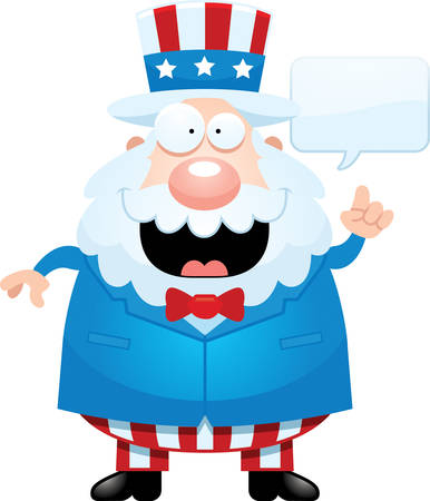 sam: A cartoon illustration of Uncle Sam talking. Illustration