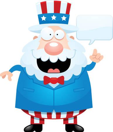 A cartoon illustration of Uncle Sam talking. Illustration