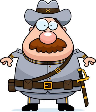 civil war: A cartoon illustration of a Civil War Confederate soldier with a mustache.
