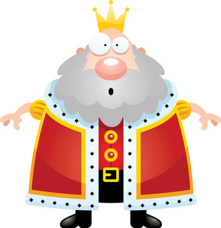 A cartoon illustration of a king looking surprised.
