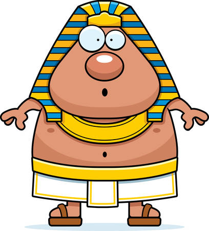 A cartoon illustration of an Egyptian Pharaoh looking surprised.