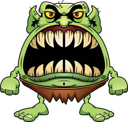 big mouth: A cartoon illustration of a goblin with a big mouth full of sharp teeth.