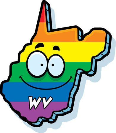 rainbow flag: A cartoon illustration of the state of West Virginia smiling with rainbow flag colors.