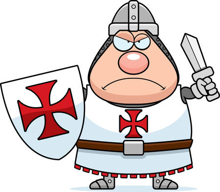 A cartoon illustration of a Templar knight looking angry.