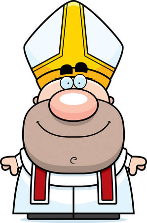 pope: A cartoon illustration of a pope looking happy. Illustration