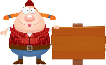 A cartoon illustration of a lumberjack with a sign.