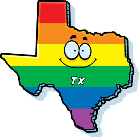tx: A cartoon illustration of the state of Texas smiling with rainbow flag colors.