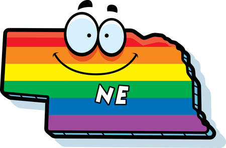 colors: A cartoon illustration of the state of Nebraska smiling with rainbow flag colors.