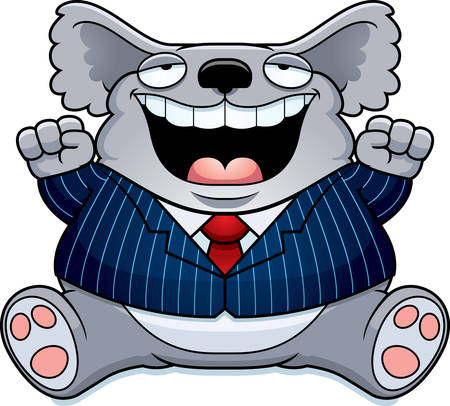 A cartoon illustration of a fat koala in a suit smiling and sitting.