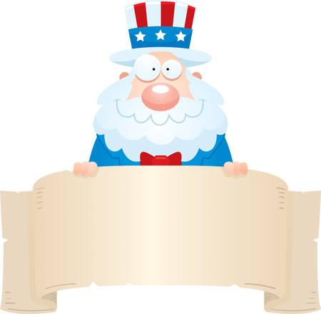 A cartoon illustration of Uncle Sam holding a banner. Illustration