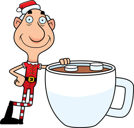 chocolate caliente: An illustration of a cartoon Christmas elf grandpa with a mug of hot chocolate.
