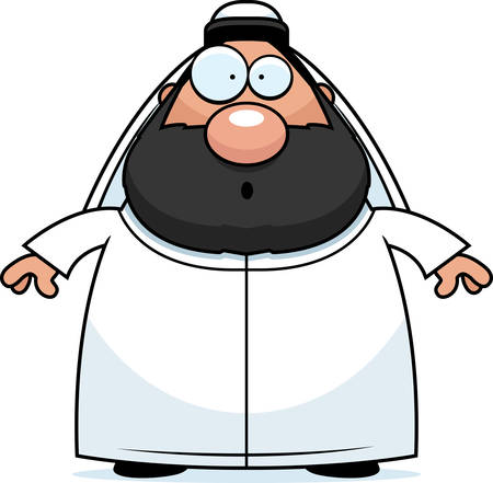 sheik: A cartoon illustration of a sheikh looking surprised.