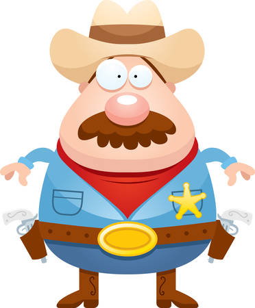 gunfighter: A cartoon illustration of a sheriff with a mustache. Illustration