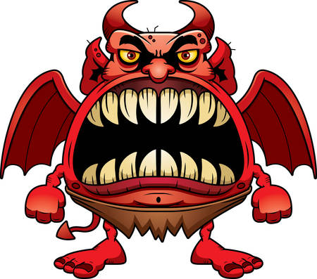 big mouth: A cartoon illustration of a devil with a big mouth full of sharp teeth.