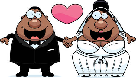 A cartoon illustration of a bride and groom holding hands and in love. Illustration