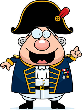 A cartoon illustration of a British Admiral with an idea.