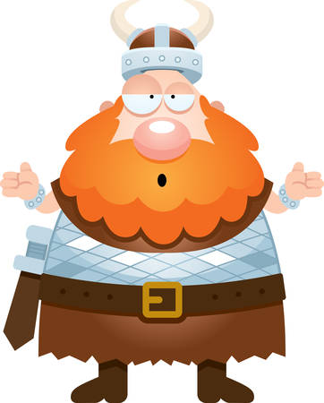 cartoon warrior: A cartoon illustration of a Viking looking confused.