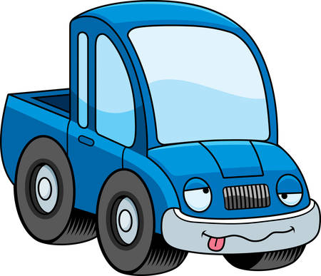 A cartoon illustration of a pickup truck looking drunk.