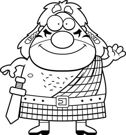 A cartoon illustration of a Celtic warrior waving.