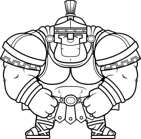 A cartoon illustration of a muscular Roman Centurion in armor smiling.